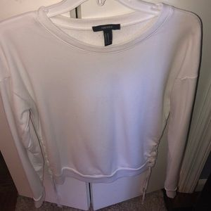 Forever 21 White lace up sweater